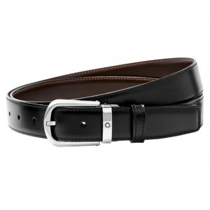 Thắt Lưng Montblanc Curved Horseshoe Shiny Stainless Steel Pin Buckle Belt 114412