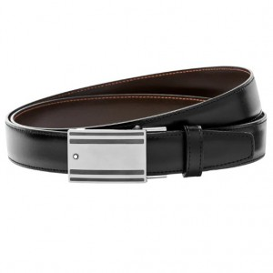 Thắt Lưng Montblanc Rectangular Mat Stainless Steel & PVD Black-Coated Roll Plate Buckle Belt 115478