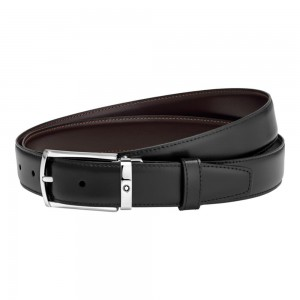 Thắt Lưng Da Montblanc Rectangular Rounded Shiny Palladium - Coated Pin Buckle Belt 123889