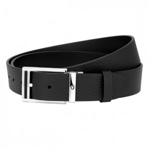 Thắt Lưng Montblanc Rectangular Shiny Palladium-Coated Pin Buckle with Black Insert Belt 123906