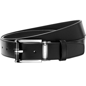 Thắt Lưng Da Montblanc Rectangular Roll 3 Rings Motif Black Resin & Shiny Stainless Steel Pin Buckle