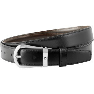 Thắt Lưng Montblanc Rounded Trapeze Shiny Palladium-Coated Pin Buckle Belt 118425