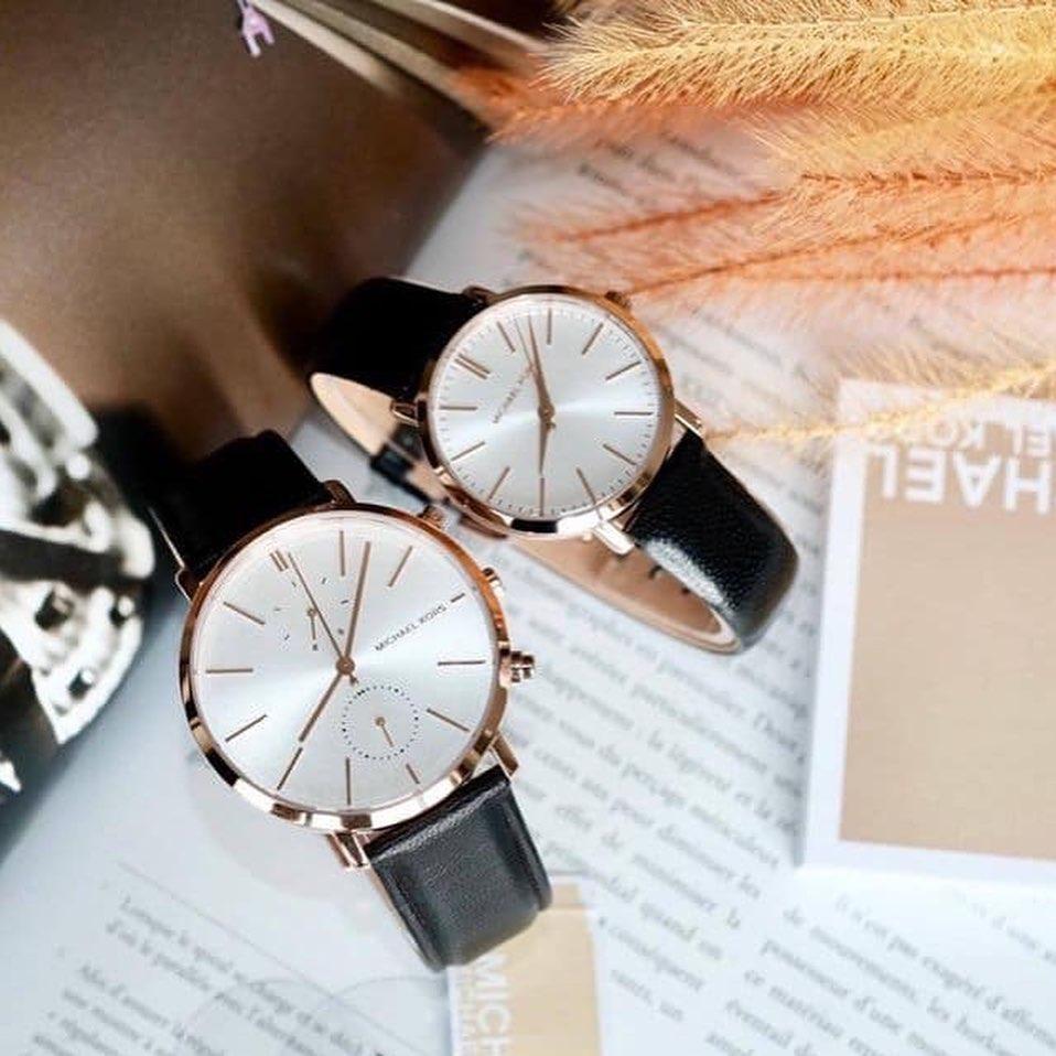 Đồng hồ Michael Kors dây da cặp thiết kế đẹp giúp người đeo cảm nhận hạnh phúc thấm đẫm trên từng cổ tay