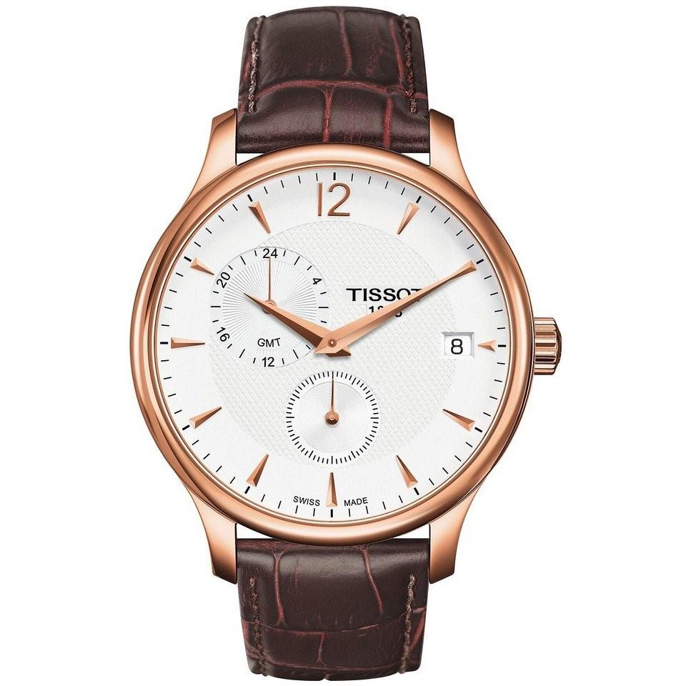 Đồng hồ Tissot Nam Tradition GMT T063.639.36.037.00 42mm chất liệu vỏ từ thép không gỉ mạ hồng